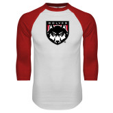 White/Red Raglan Baseball T Shirt-Wolves Shield