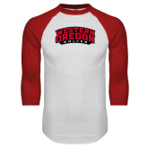 White/Red Raglan Baseball T Shirt-Word Mark Arched