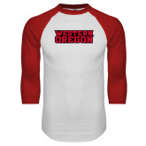 White/Red Raglan Baseball T Shirt-Word Mark Flat