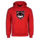 Red Fleece Hoodie-Wolves Shield