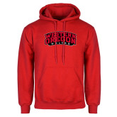 Red Fleece Hoodie-Word Mark Arched