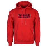 Red Fleece Hoodie-Word Mark Flat