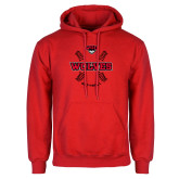 Red Fleece Hoodie-Softball Seams