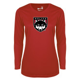 Ladies Syntrel Performance Red Longsleeve Shirt-Wolves Shield