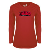 Ladies Syntrel Performance Red Longsleeve Shirt-Word Mark Arched