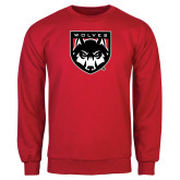 Red Fleece Crew-Wolves Shield