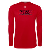 Under Armour Red Long Sleeve Tech Tee-Word Mark Flat