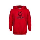 Youth Red Fleece Hoodie-Football Helmet