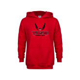 Youth Red Fleece Hoodie-Track and Field Wings