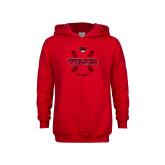 Youth Red Fleece Hoodie-Softball Seams