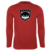 Performance Red Longsleeve Shirt-Wolves Shield