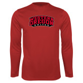 Performance Red Longsleeve Shirt-Word Mark Arched