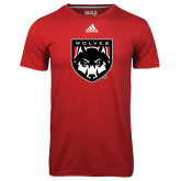 Adidas Climalite Red Ultimate Performance Tee-Wolves Shield