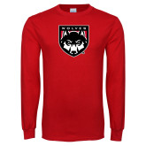 Red Long Sleeve T Shirt-Wolves Shield
