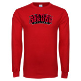 Red Long Sleeve T Shirt-Word Mark Arched