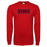 Red Long Sleeve T Shirt-Word Mark Flat