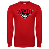 Red Long Sleeve T Shirt-WOU w/ Wolf