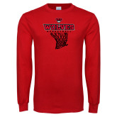 Red Long Sleeve T Shirt-Basketball Net