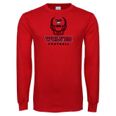 Red Long Sleeve T Shirt-Football Helmet
