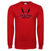 Red Long Sleeve T Shirt-Track and Field Wings