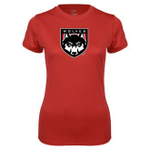 Ladies Syntrel Performance Red Tee-Wolves Shield