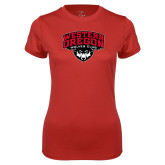 Ladies Syntrel Performance Red Tee-Wolves Club
