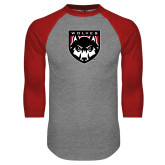 Grey/Red Raglan Baseball T Shirt-Wolves Shield