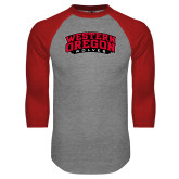 Grey/Red Raglan Baseball T Shirt-Word Mark Arched