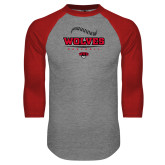 Grey/Red Raglan Baseball T Shirt-Baseball Seams