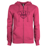 ENZA Ladies Fuchsia Fleece Full Zip Hoodie-WOU w/ Wolf Hot Pink Glitter