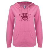 ENZA Ladies Hot Pink V Notch Raw Edge Fleece Hoodie-WOU w/ Wolf Hot Pink Glitter