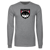 Grey Long Sleeve T Shirt-Wolves Shield