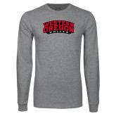 Grey Long Sleeve T Shirt-Word Mark Arched