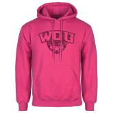 Fuchsia Fleece Hoodie-WOU w/ Wolf Hot Pink Glitter