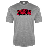 Performance Grey Heather Contender Tee-Word Mark Arched