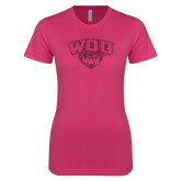 Ladies SoftStyle Junior Fitted Fuchsia Tee-WOU w/ Wolf Hot Pink Glitter