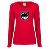 Ladies Red Long Sleeve V Neck Tee-Wolves Shield