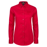 Ladies Red Twill Button Down Long Sleeve-Word Mark Flat