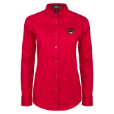 Ladies Red Twill Button Down Long Sleeve-Wolves Club