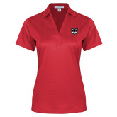 Ladies Red Performance Fine Jacquard Polo-Wolves Shield