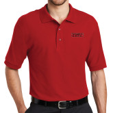 Red Easycare Pique Polo-Word Mark Flat