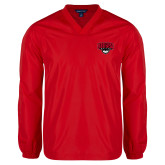 V Neck Red Raglan Windshirt-Primary Mark