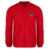 V Neck Red Raglan Windshirt-Wolves Shield