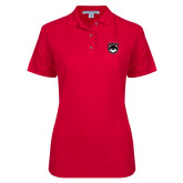 Ladies Easycare Red Pique Polo-Wolves Shield