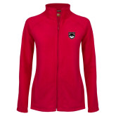 Ladies Fleece Full Zip Red Jacket-Wolves Shield