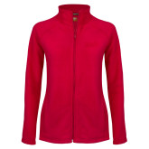 Ladies Fleece Full Zip Red Jacket-Word Mark Flat