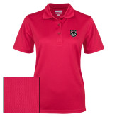 Ladies Red Dry Mesh Polo-Wolves Shield