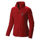 Columbia Ladies Full Zip Red Fleece Jacket-Primary Mark