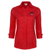 Ladies Red House Red 3/4 Sleeve Shirt-Wolves Club