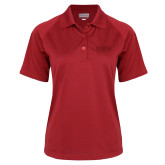 Ladies Red Textured Saddle Shoulder Polo-Word Mark Flat